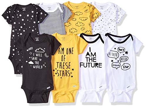 Gerber Baby Boys' 8 Pack Short-Sleeve Onesies Bodysuits, Star, 6-9 Months