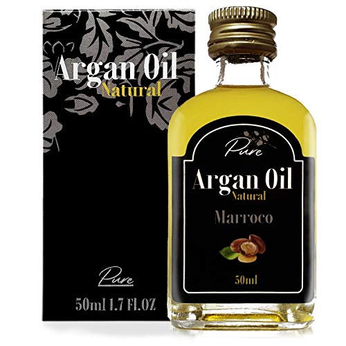 Aceite puro de Argan - 100% Natural Bio Orgánico Prensado en frío en Marruecos para la piel Pelo Barba Uñas Masaje Aceite de Marruecos 50 ml