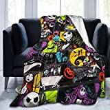 Funny Fleece Bed Blankets, Jack Skellington Fan Art Gift Poster Personalized Throw Blankets, Super Cozy Quality Blanket for Dad Chair Camping, Air Conditioning Blanket, Baby Nap Blanket - 50x40