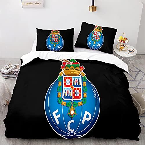 YIOUY FC Porto Funda Nórdica Juego De Funda De Edredón Microfibra Y 1 Funda De Almohada, Juego De Ropa De Cama con Cremallera, Cama 90, 150x220 cm