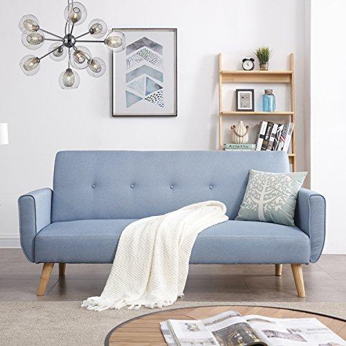 CONCEPT USINE - Canapé Scandinave Convertible Design Berlin 3 Places Bleu - Canapé Lit Moderne avec Accoudoirs - Largeur 183 cm - Tissu 100% Polyester - Equilibre, Confort, Design, Résistant