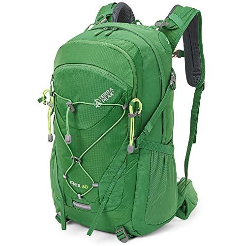 """Terra Peak Flex 30 Wanderrucksack 30L grün unisex Outdoorrucksack für Wandern, Radfahren, Reisen, Sport wasserabweisendes Material, Trinksystem, mit Helmhalterung und Fach für Laptop 15,6"""" Regenhülle"""