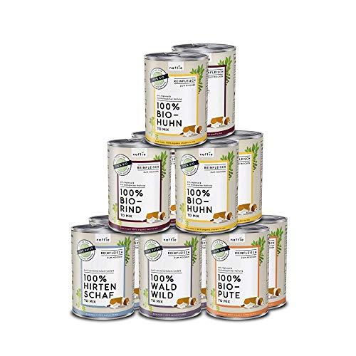 naftie Bio Hundefutter Reinfleischdosen Mischpakete | 100% Reinfleisch pur Spar-Pakete | Nassfutter zum Mischen, auch als Barf-Fleisch | Glutenfrei | Getreidefrei | 12 x 400 g Dosen