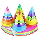 WFPLUS 24 Pcs 8 Inch Rainbow DIY Birthday Party Cone Hats - Fun Party Paper Hats Birthday Party Supplies Kid Art & Craft Caps for Boys, Girls and Adults