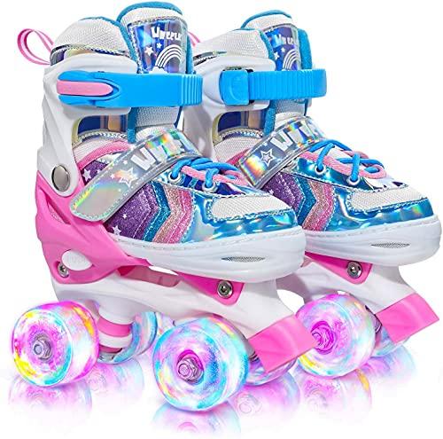 Wheelkids Roller Skates for Girls, Kids Roller Skates with Light up Wheels, Rainbow Roller Skates for Toddlers Children Outdoor Indoor Adjustable 4 Sizes