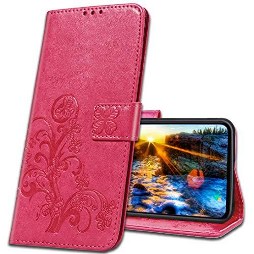 MRSTER Handyhülle für Motorola One Zoom Hülle, Schutzhüllen aus Klappetui mit Kreditkartenhaltern, Ständer, Magnetverschluss Tasche Kompatibel für Motorola One Zoom. Luck Clover Rose