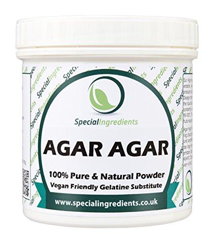 Agar Agar en Polvo 100g - gelatina superior del vegano de la calidad (etiquetas e instrucciones del español)