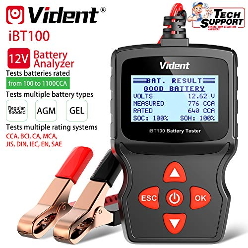 VIDENT IDENT Battery Tester IBT100 Automotive 100-1100CCA Battery Load Tester,12V Battery Analyzer for Flooded, AGM,Gel Car Tester Diagnostic Tool for Passenger Cars and Light Duty Trucks