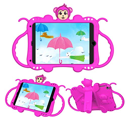 Macoku Kids Case for iPad Mini 1/2/3/4/5 7.9 Inch Tablet Shockproof Protective Handle with Shoulder Strap Stand Cover Silicone Tablet Case Lovely Cute Monkey (Rose)