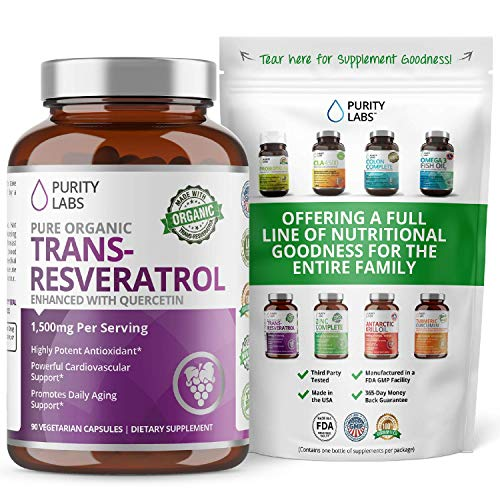 Organic Trans-Resveratrol 1,500MG Enhanced with Quercetin - Highest Quality and Potency Available - Powerful Antioxidant for Heart, Anti-Aging, and Radiant Looking Hair, Skin and Nails 90 Vegan pills