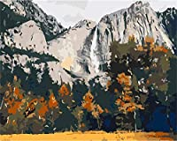 大人のための数字キットによるペイント子供初心者DIY油絵、ブラシとアクリル絵の具アートクラフト、家の壁の装飾山の風景-60x80cm-額装