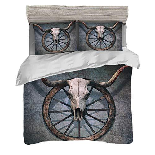 Funda nórdica Tamaño King (200 x 200 cm) con 2 fundas de almohada Rueda de carreta de madera de granero Juegos de cama de microfibra Decoración temática del salvaje oeste con calavera de toro en la ru