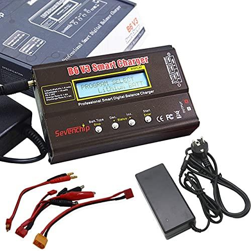 SHUGJAN Adaptador cargador del balance de IMAX B6 V3 80W Batería Lipo/descargador Con 12V 5A AC for LiHV LiIonLiFe NiCd NiMH batería PB Piezas de montaje RC (Color : Charger Adapter)