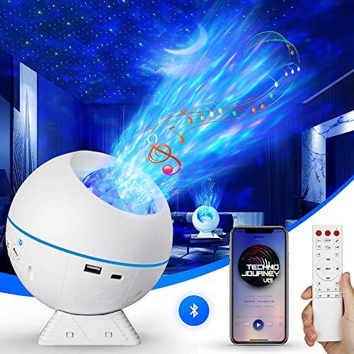 LED Sternenhimmel Projektor, Sternenlicht Projektor Nachtlicht 360° Drehbar, Wasserwelle LED Projektor Sternenhimmel Lampe Fernbedienung/Bluetooth Lautsprecher/Timer für Kinder Erwachsene Zimmer Deko