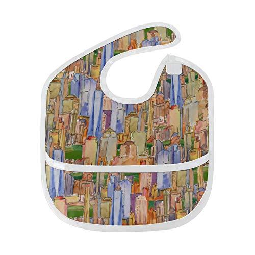 N\A Bavoir bébé pour enfants coloré mode Art American City bébé garçons bavoir tache douce bébé alimentation Dribble bavoir bavoirs Burp pour bébé 6-24 mois