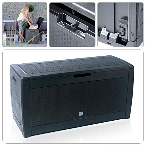 SK Garten Aufbewahrungsbox Auflagenbox Gartentruhe Kissenbox Gartenbox Box Rattan Optik Anthrazit