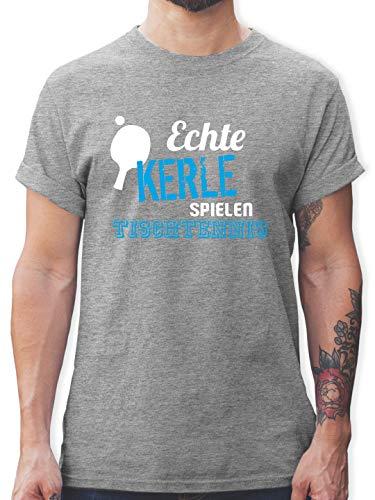 Sport Wandern Football & Co. - Echte Kerle Spielen Tischtennis - XL - Grau meliert - t Shirt Tischtennis - L190 - Tshirt Herren und Männer T-Shirts