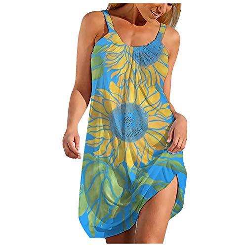 Qigxihkh Damen Sommer Rock Lässig Mode Kleider Bequem Frauen Röcke Damenmode Sexy Ärmelloser Print Saum Print Loses knielanges Strandkleid(Blau, S)