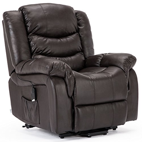 More4Homes SEATTLE ELECTRIC RISE RECLINER BONDED LEATHER ARMCHAIR SOFA HOME LOUNGE RISER CHAIR (Brown)