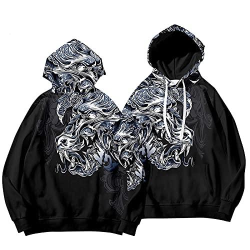 HaoLin Plus Abrigo Grueso de Terciopelo Sudadera con Capucha de Manga Larga con Capucha y Estampado Dragon Element Sweater,A-D