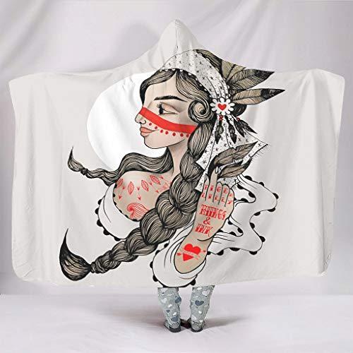Knuffelig met capuchon deken stam Indiaans eenheis meisje tattoo druk warme winter fleece abstract kostuum camping sofa slaapkamer