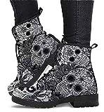 CRMY Botas con Estampado de Calavera y Plataforma de Cuero a la Moda para Mujer, Botines Antideslizantes para Mujer, Zapatos cómodos y Ligeros - Primavera Verano Otoño Invierno