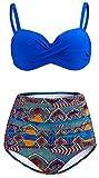 ChayChax Damen Hoher Taille Badeanzug 50er Retro Polka-Punkt Badeanzüge Bademode Zweiteiler Bikini Set Schwimmanzug, Navy Blau + Blumen, Größe M