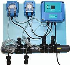 PH y CLORO dosificador para una piscina equilibrada con inhibición de algas, analizador y regulador automatizade, Le ahorra tiempo y dinero y evita el agua verde antialgas