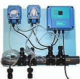 Happy Products - Sistema de dosificación de PH y cloro totalmente automatizado para una piscina equilibrada con inhibición de las algas, ahorro de dinero y tiempo, pantalla PH y REDOX