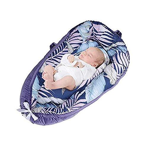ZIXIANG Lits-Cages Lit Bionic Double Face Détachable Coton Suède Lit De Bébé Matelas Baby Lounger, Portable Chaise Longue Nouveau-né Lits bébé Berceaux (Color : Purple)