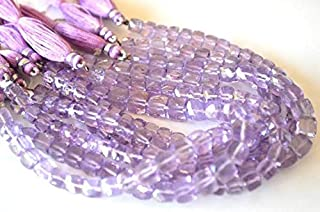 "Jewel Beads Natural Beautiful jewellery FULL 8"" Inches Strand. Very Fine Quality and Natural Pink Amethyst Faceted 3D Cube - Size 6-8mmCode:- JBB-13398"