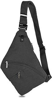 Decdeal Sling Bag Male Front Cross Body Bag Anti-theft Safety Chest Pocket Pouch Shoulder Bag for Men