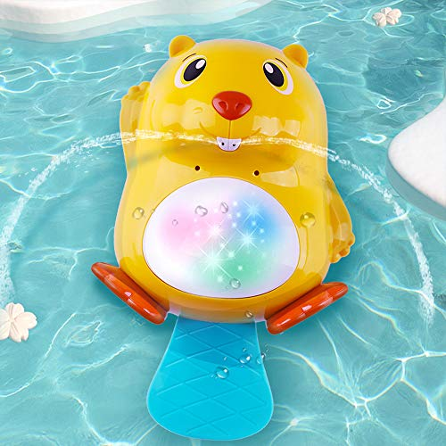 iPlay, iLearn Automatic Baby Bath Squirt Toy, Beaver Water Spray Bathtub Toys W/ LED Light, Sensory Development Bathtime Shower Gift for 12, 18 Months 1, 2 Years Toddler, Infant, Boys, Girls, Kids