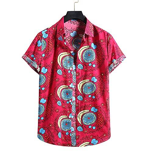 T-Shirt Hombre Manga Corta Transpirable Ajuste Regular Estampado Moda Hombre Shirt Tapeta con Botones Verano Cuello Kent Hombre Ropa De Calle Acampar En Hawaii Hombre Shirt Playa YC05 XXL