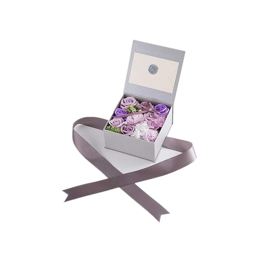 娘土砂降り高く生地と花石鹸の花 絶妙な梱包フラワーバレンタインデーのための花バラ花束の記念日誕生日母の日 (色 : Violet)