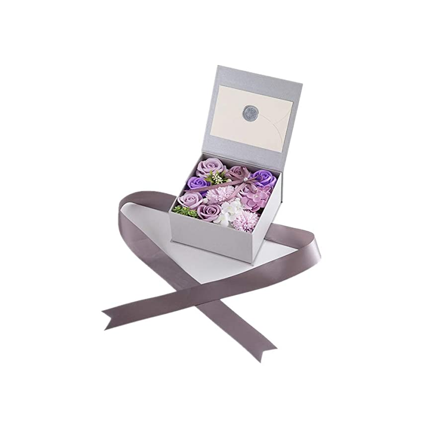 縞模様のベンチャー色生地と花石鹸の花 絶妙な梱包フラワーバレンタインデーのための花バラ花束の記念日誕生日母の日 (色 : Violet)