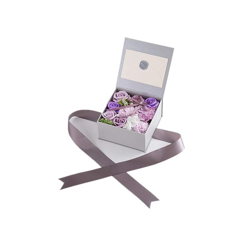 市長同志記念生地と花石鹸の花 絶妙な梱包フラワーバレンタインデーのための花バラ花束の記念日誕生日母の日 (色 : Violet)