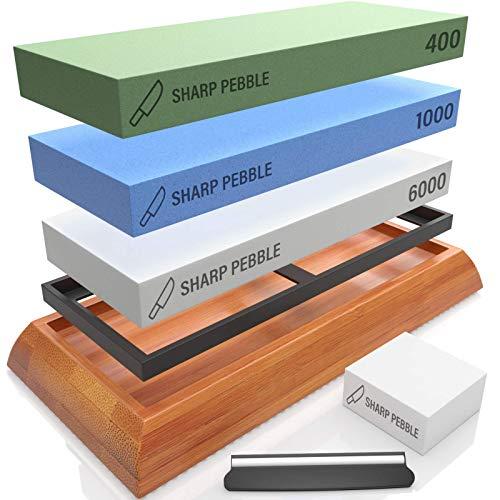 Sharp Pebble Extra Large Sharpening Stone Set - Whetstone Knife Sharpener Set - Grits 400/1000/6000 Waterstone, Flattening Stone & Angle Guide