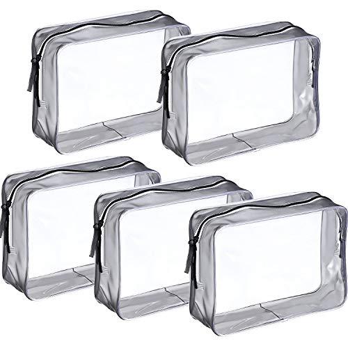 PVC Bolsa Portátil de Maquillaje,Bolsa Cosméticos Transparente 5 Piezas Impermeable Claro Bolsa de Aseo con Cremallera para Vacación Baño y Almacenamiento
