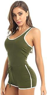 UUKR Frauen Erwachsene Fitness Sommer U Hals Racerback Tank Top Tanz Cheerleader Bodycon Shorts Strampler Gesamt Sportswear Clubbekleidung-Armeegrün_L.