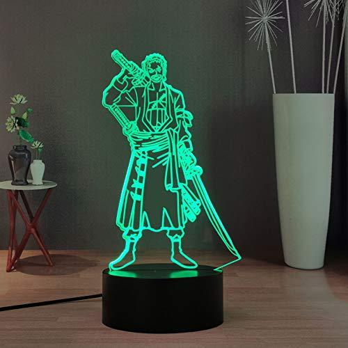 Roronoa Zoro - Luz nocturna 3D para niños, diseño de anime japonés ONE con mando a distancia con 16 colores LED para escritorio, la mejor luz de Navidad de cumpleaños para niños/niñas/fans