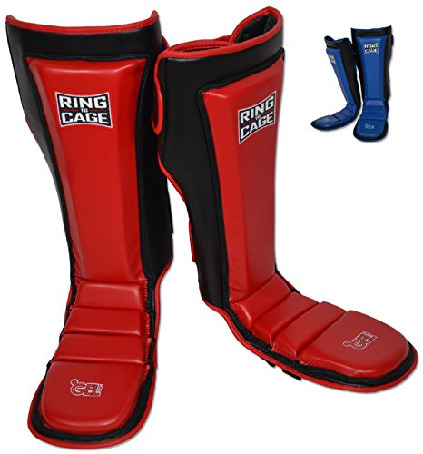 Ring to Cage Ultima GelTech MMA Muay Thai Grappling Shin Instep Shin Guards (Red, Medium)