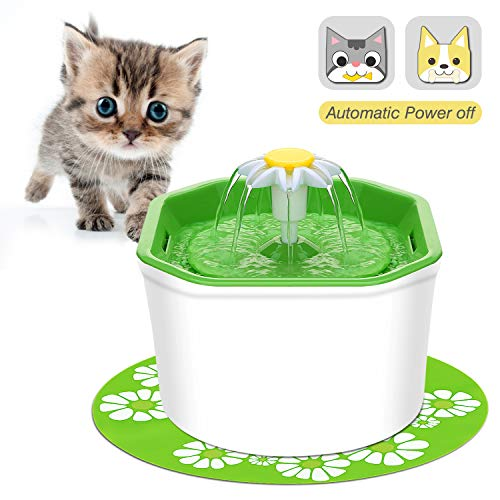 VITCOCO Pet Fountain Cat Water Fountain, Intelligent Auto Power Off Pump with LED Design, with 2 Carbon Filters, 1 Mat, 1 Cleaning Brushes, 2 Cat Toys Water Fountain for Cats Dogs Pets