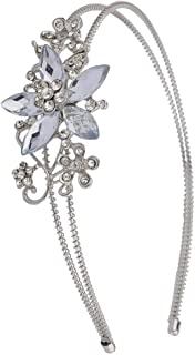 Lux Accessories Halloween Girls Fun Silvertone Crystal and Pave Stone Bridal Vine Flower Headband