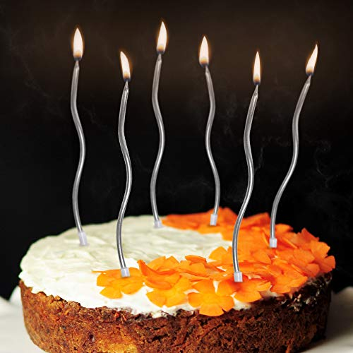 Birthday Candles Pack for Birthday, Wedding Party and Cake 6 Pack Silver