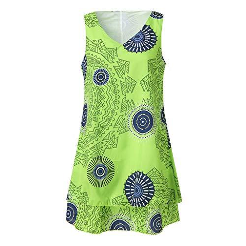 i-uend 2019 Kleid Damen Sommer, Mode Übergröße Drucken Midi-Kleid Verlieren Sie Shift Ärmelloses Tankweste Weste Sun Kleid