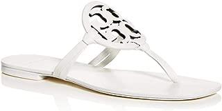 Flip Flop Miller Square Toe Flat Sandal Leather (6.5, White)