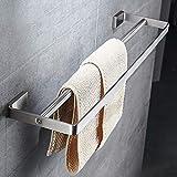 WQF Toalleros Estantes de Acero Inoxidable para Toallas de baño Barra de Toalla Doble Antióxido para baño Baño Estante de Toalla de Varilla Doble Rieles de Toalla montados en la Pared Herra