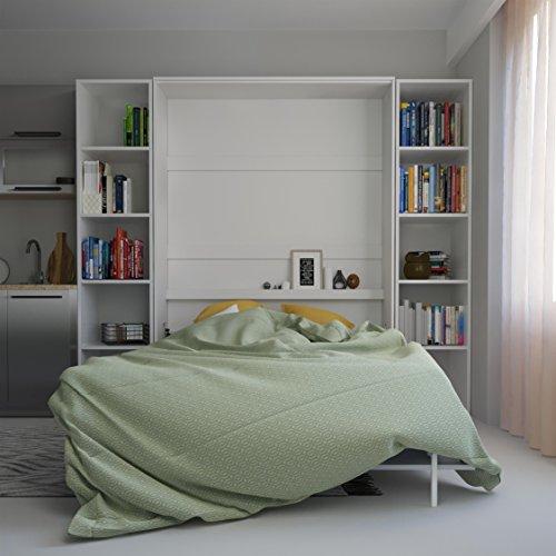 SMARTBett Basic 140×200 Vertikal Weiss Schrankbett   ausklappbares Wandbett, ideal geeignet als Wandklappbett fürs Gästezimmer, Büro, Wohnzimmer, Schlafzimmer - 5