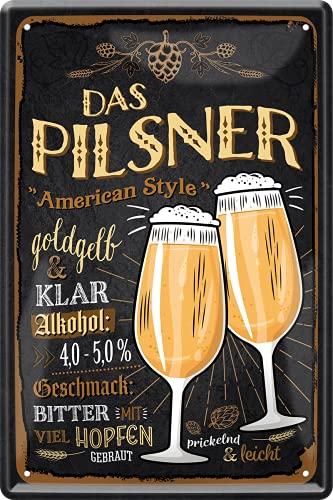"""schilderkreis24 – Blechschild Bier Rezept """"Das Pilsner American Style"""" Deko Küche Bar Theke Biergarten Stammtisch Kneipe Alkohol Geschenkidee Geburtstag Weihnachten 20x30 cm"""